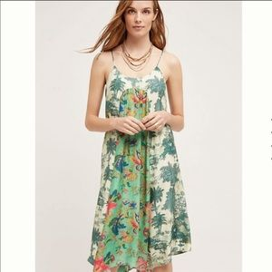 Anthropologie Maeve green Santee Swing Dress sizeM